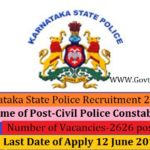 Karnataka State Police Recruitment 2019 Online Application