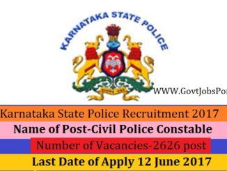 Karnataka State Police Recruitment 2017 Online Application