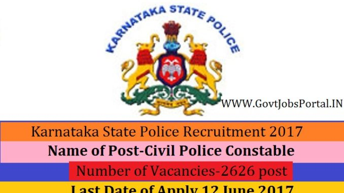 Karnataka State Police Recruitment 2017 Online Application