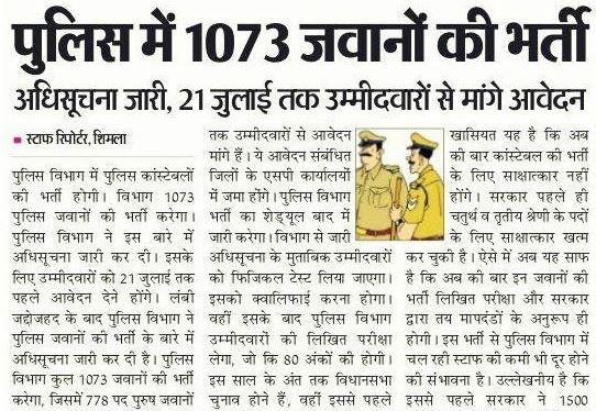 HP Police Constable Recruitment 2017