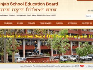 Punjab School Education Board 4183 Posts Recruitment 2017-18