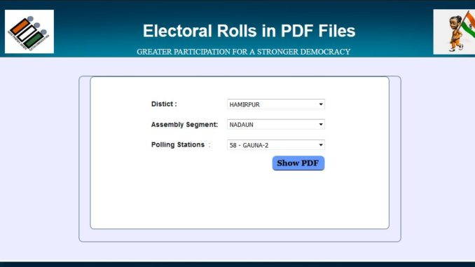 Himachal Vidhan Sabha Elections 2017 Voter List 1