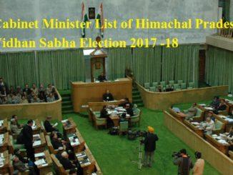 Cabinet Minister List of Himachal Pradesh Vidhan Sabha Election 2017 -18