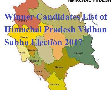 Winner Candidates List of Himachal Pradesh Vidhan Sabha Election 2017