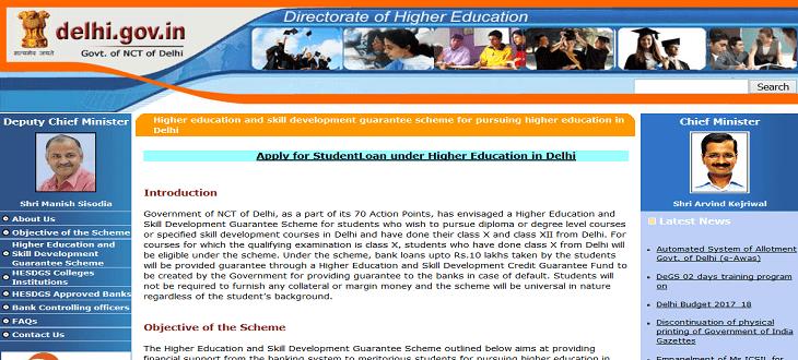 Application form Delhi Uch Siksha Rin Yojana