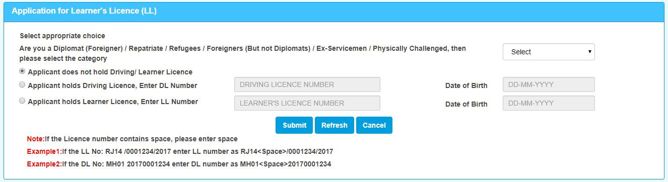 Application for Learner's Licence (LL)