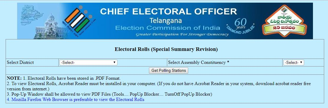 Telangana Election Voter List 2018-19