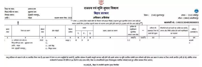 Bihar Apna khata Land Record