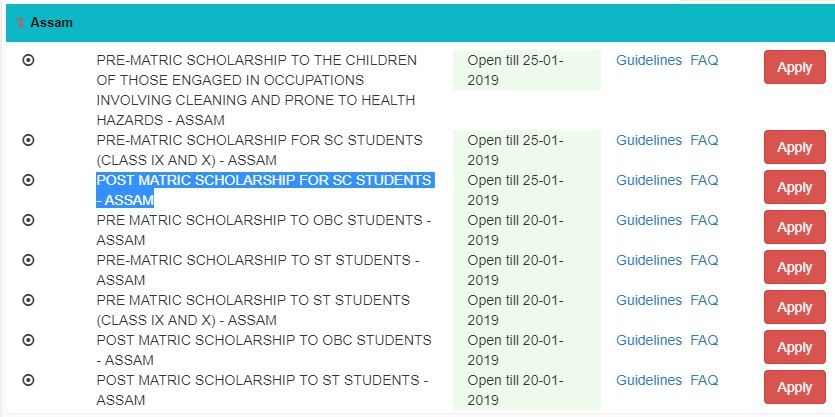 POST MATRIC SCHOLARSHIP FOR SC STUDENTS ASSAM