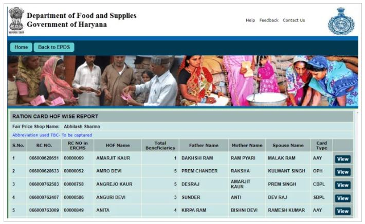 RATION CARD WISE REPORT