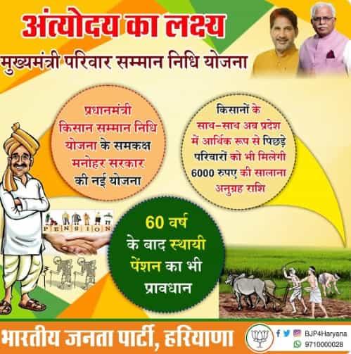 Mukhyamantri Parivar Samman Nidhi Yojana Haryana