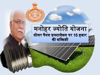 Manohar Jyoti Yojana Haryana Solar Home Subsidy Scheme